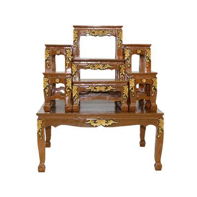 โต๊ะหมู่บูชา โต๊ะหมู่ไม้สัก 7x9''  แกะลายแต้มทอง