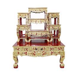 โต๊ะหมู่บูชา โต๊ะหมู่ไม้สัก 7x8''  ร่องสี
