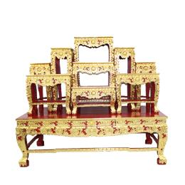 โต๊ะหมู่บูชา โต๊ะหมู่ไม้สัก 9x10''  ปิดทองดอกโบตันขาสิงห์
