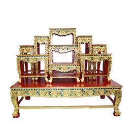 โต๊ะหมู่บูชา โต๊ะหมู่ปิดทอง 9x10''  ปิดทอง K ร่องกระจก