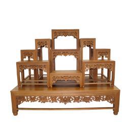 โต๊ะหมู่บูชา โต๊ะหมู่ไม้สัก 9x10''  ลายดอกไม้