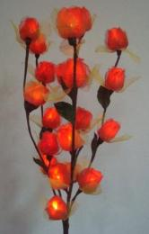 โคมไฟใยยางพารา ดอกกุหลาบสีแดง