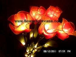 โคมไฟดอกกุหลาบตูม สีม่วงส้มออกแดง แบบ 5 ก้าน