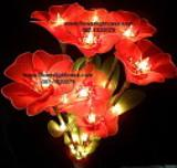 โคมไฟดอกแก้วสีแดงสด