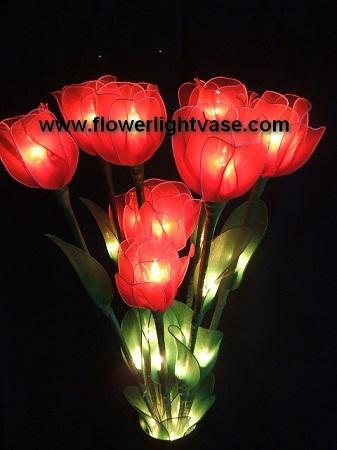โคมไฟดอกทิวลิปสีแดงสด