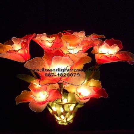 โคมไฟดอกคัทลียา ส้มแดงขาว