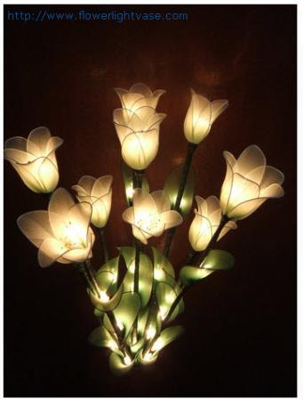 โคมไฟดอกไม้ผ้าใยบัว สีขาวครีม 0015