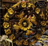 ไม้สักแกะสลักแขวนผนังรูปมวลดอกไม้