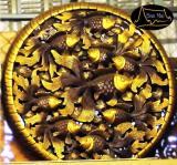 ไม้สักแกะสลักแขวนผนังรูปปลาทอง