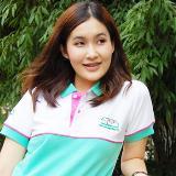 เสื้อยืด คอโปโล สีขาว ตัดต่อ สีเขียว B031