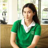 เสื้อยืด คอโปโล สีเขียว ตัดต่อ คอวี B028