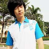 เสื้อยืด คอโปโล สาบและแขนสีฟ้า B013