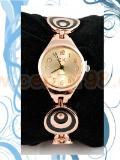 นาฬิกาสายเหล็กลายก้นหอยดำ สีพิงค์โกลด์