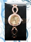นาฬิกาสายเหล็กลายห่วงกลมหน้าปัดกลม สีพิงค์โกลด์