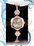 นาฬิกาสายเหล็กลายดอกไม้หน้าปัดดอกไม้ สีพิงค์โกลด์