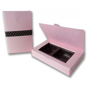 กล่องช็อคโกแลต บรรจุ 2 ชิ้นสีชมพู Linen แบบที่3