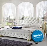 เตียงนอน White Vintage leather Model- R111