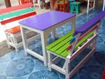 โต๊ะชุดไม้สน+เก้าอี้พนักนักพิงเอียง