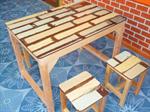 โต๊ะชุดไม้เต็งทำสีเก่าขาไม้สน