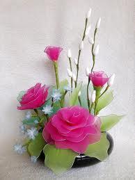 ดอกไม้ผ้าใยบัว ดอกกุหลาบ