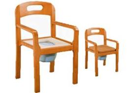 เก้าอี้ไม้นั่งถ่ายแบบพับไม่ได้ พร้อมถัง