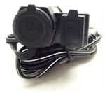 เบ้าชาร์จไฟกันน้ำ แบบที่จุดบุหรี่ 12V + USB 5V มีประกับยึด WUPP (1122)
