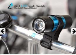 ไฟฉาย + เครื่องเล่น mp3 สำหรับติดจักรยาน