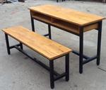 ชุดโต๊ะเก้าอี้นักเรียนแบบนั่งคู่ไม้ยางพารา