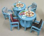 ชุดโต๊ะไม้สักโบราณจิ๋ว สีเขียว 2