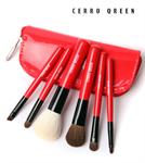 Cerro Qreen six wool makeup brushes sets limited ชุดแปรงแต่งหน้ารุ่นพิเศษ - Red (6 ชิ้น)