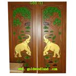 ประตูไม้สัก บานคู่ ลาย GBB-33