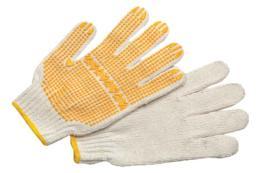 ถุงมือผ้าคอตตอนเสริมจุดพีวีซี