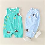 เสื้อผ้าเด็กเล็กสีม่วงแขนบางฤดูร้อนคลานชุด