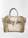 กระเป๋าถือ หนังจระเข้ ของแท้ สีหิมาลายัน ขาวธรรมชาติ  Crocodile Leather Handbag