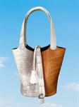 Genuine Crocodile/ Alligator Leather Handbag กระเป๋าถือ หนังจระเข้ สีขาวน้ำตาล เบามาก ราคาโปรพิเศษ