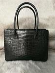 กระเป๋าหนังจระเข้แท้ ช็อปปิ้งแบ๊ค สีดำ เบามาก ใส่ของได้เยอะ Real Crocodile Tote Bag in Black