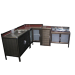 ชุดตู้ครัวอ่างล้างจาน + ตู้เข้ามุม + ตู้วางเตาเก็บถังแก๊ส