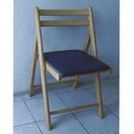 เก้าอี้พับวายแชร์ เบาะสีน้ำเงิน P004