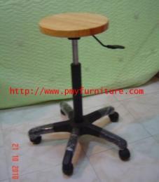 เก้าอี้บาร์กลม ที่นั่งไม้จริง