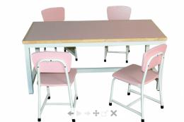 โต๊ะนักเรียนอนุบาล 4 ที่นั่ง สีชมพู