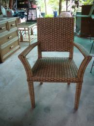 เก้าอี้อาหารสานใส้แบนโครงไม้
