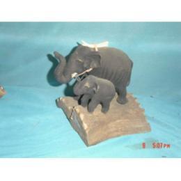 ช้างคู่แม่ลูกแกะสลัก 000016
