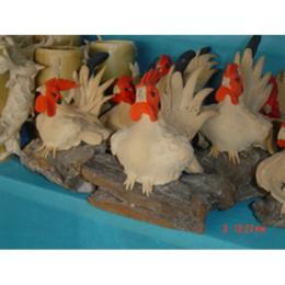 ไก่ปั้นจากขี้เลื่อยไม้สัก 000155