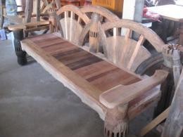 T019 เก้าอี้ไม้เกวียน ยาว 2.10 เมตร
