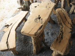 E016 โต๊ะสนามรากไม้กรรเกราขนาด 1.20 เมตร