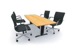 โต๊ะประชุม  BOAT SHAPE ขาเหล็กชุบโครเมี่ยม