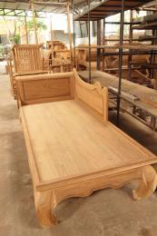 ม้านั่งยาวไม้สัก เก้าอี้รับแขก หรือเก้าอี้นอนเล่น ขาคู้
