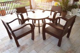 ชุดโต๊ะไม้สัก ทรงโบราณ พร้อมเก้าอี้ 4 ตัว