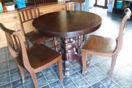 ชุดโต๊ะรับประทานอาหารไม้สัก ทรงกลม