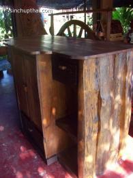 ตู้เคาน์เตอร์ไม้สักเก่าปีกไม้